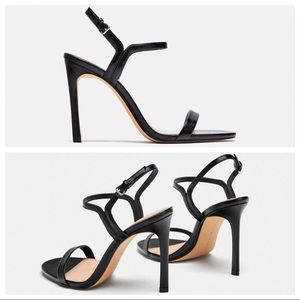 Zara Black Leather Thin Strap High Heels